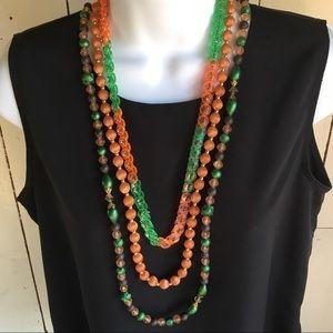 3 Vintage Necklaces Orange, Green, Brown Colors